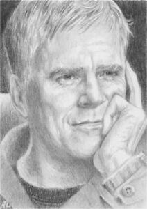 Original ACEO Sketch Card PSC ~  Richard Dean Anderson Stargate SG1 Jack O'Neill