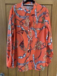 Orange Scarf Print Blouse. Size 16/18 XXL NWT