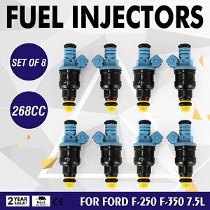 New 8Pcs Set Fuel Injectors For Ford F-250 F-350 Econoline 7.5L 1991-1997