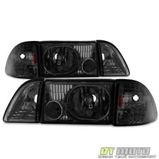 Smoke 1987-1993 Ford Mustang Headlights Headlamps w/ Corner Parking Left+Right