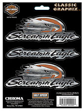 Harley Davidson Screamin Eagle  Classic Graphix Embossed chrome DECAL