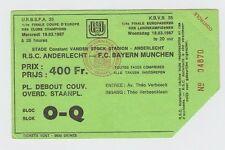 Orig.Ticket    EC 1  1986/87  RSC ANDERLECHT - BAYERN MÜNCHEN  1/4 FINALE !! TOP