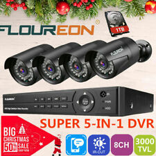 FLOUREON 8CH 5IN1 CCTV 1080N DVR 3000TVL Camera Home Security System Video IR