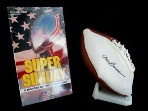 History of the Super Bowl NFL Films VHS Tape/Chris Berman Autographed Football