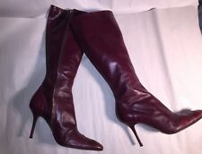 pre-loved authentic DOLCE & GABANA oxblood red Size 39 Italy BOOTS side zip HEEL