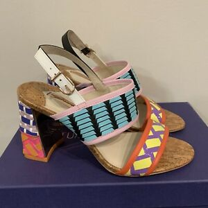 Sophia Webster Patent Leather Woven Block Heel Multicolor Sandals 37 / US 7 NEW