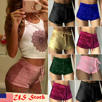 Summer Women Ladies Elastic Crushed Velvet High Rise Hot Pants Shorts Bottoms