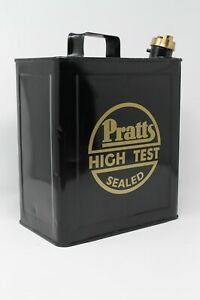Vintage 2 Gallon Petrol Tin Can Gold Pratts High Test Decal Stickers Pair  Retro