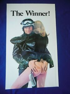 """Orig 1969 """"The Winner"""" Vintage Poster Bruce Knight Goggles Indian Harley Cycles"""
