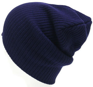 Mens Ladies Knitted Woolly Winter Slouch Beanie Hat Cap One Size skateboard