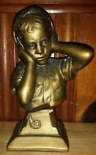 Vintage Chalkware with Girl Holding Ears Esco Products