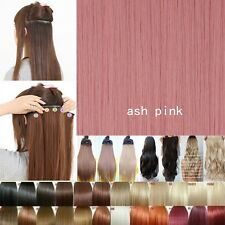 One Piece As Human Half Full Head Clip in Hair Extensions Pure Color Brown Pink