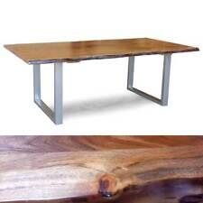 Massivholz Tisch Kerala Esstisch 220x100 cm Akazie Baumkante Gestell alufarbig