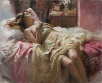 LMOP1276 100% handmade-painted sleeping girl on bed oil painting art on canvas