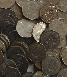1973 EEC 50p Old Large Fifty Pence Coin Job Lot Bulk X 100