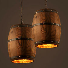Nature Wood Wine Barrel Hanging Fixture Ceiling Pendant Lamp Lighting Lights