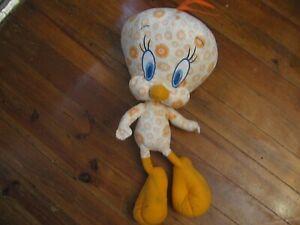 """21"""" plush orange flower print Tweety Bird doll, good condition"""
