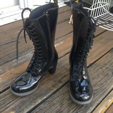 Dr Martens Docs Black Patent Leather Boots Womens 6 EU37 Dee Heels Airwair Shoes