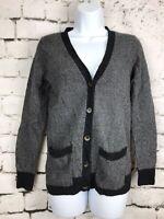 J Crew Women's Merino Wool Alpaca Cardigan Sweater Size S Boyfriend Herringbone