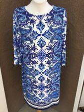 New $119 Rare Chico's Blue Paisley Geo Print Dress Back Zip 2 L Large 12 14 NWT