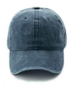 Baseball Cap Vintage Style Denim Adjustable Faded Hat Slate Grey Navy Blue New