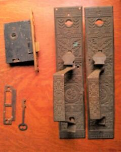 "Two Antique Bronze Eastlake Entry Doorplates & Lock, Key ""Windsor"" Reading c1885"