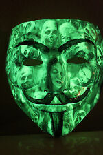 GLOW N DARK Anonymous CUSTOM V VENDETTA MASK Guy Fawkes protest hack Masks