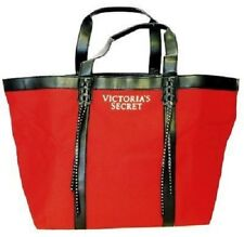 VICTORIAS SECRET RED CANVAS XL TOTE WEEKENDER SHOPPING BEACH BAG Free Shipping