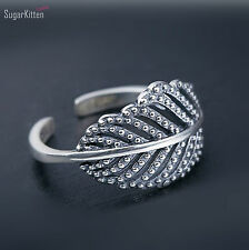 Adjustable 925 Sterling Silver Shimmering Filigree Leaf Leaves Open Band Ring L