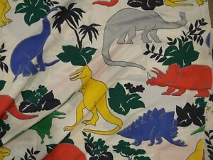 Huge Lot Vintage Dinosaur Primary Colors Fabric Material Curtains Full Bedsheets