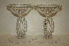 "(2) Candlewick Crystal 400/224 5 1/2"" Tri-Stem Candleholders"