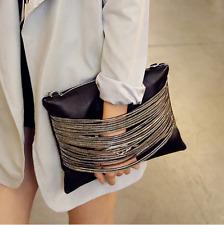 Clutch Envelope Handbag Black with Chains Trend Handbag Shoulder Messenger Bag