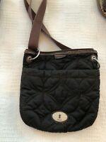 Fossil Crossbody  key-per nylon brown bag purse
