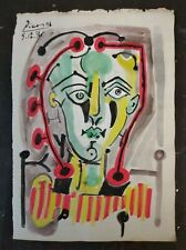 PABLO PICASSO        DRAWING SIGNED  WATERCOLOR ON OLD PAPER OF THE 900s
