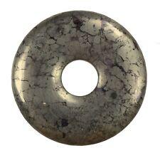 Pyrit Donut Anhänger Edelstein 30 mm Scheibenstein Pi Stein Heilstein