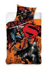 BATMAN v SUPERMAN HEROES Orange Single Bed Duvet Cover Set 100% COTTON