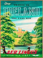 Travel to Ireland The Easy Way AER Lingus Irish Airlines Great Britain Art Print