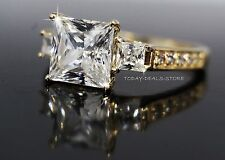 Princess Cut Three-Stone Proposal Engagement Ring Solid 14k Yellow Gold 2.6 CTW