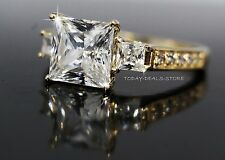 NEW 2.6 CTW VVS/D Princess Cut Engagement Ring Solid 14k Yellow Gold