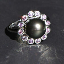 Natural Black Pearl and Rose Sapphires in Solid 14-kt Gold White Gold Ring