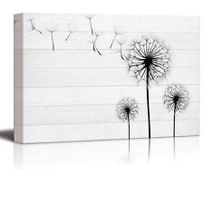 Wall26 - Black Silhouette of Dandelions on White Wood Panels - Canvas Art- 16x24