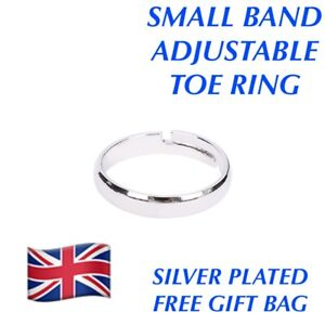 WOMENS PLAIN SMALL BAND ADJUSTABLE TOE RING STERLING 925 SILVER PLATED GIFT BAG