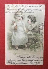 CPA. 1904 Très Petite Fille. Petit Garçon. Poupée. Mur. Petit Couple Amoureux.
