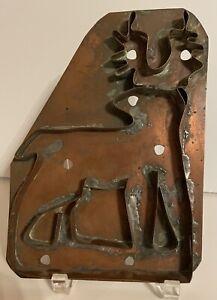 """Vintage 9.5"""" x 7"""" Large Handle Copper Reindeer Deer Cookie Cutter Handmade?"""