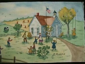"ORIGINAL FOLK ART-""RECESS TIME ""- BY BRIDGET MORENO-""""-SIGNED-"