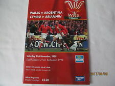 Wales v Argentina. Rugby Union. 1998.