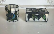 Tiffany Stained Glass Decorative Trinket Jewelry Box & Cup Set Nib