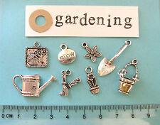 8 tibetan silver gardening charms shed watering can bucket spade flower pot