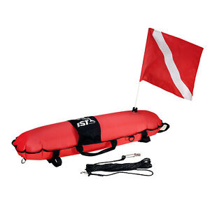 "IST SBA-1 33.5"" Torpedo Buoy with Flag for Spearfishing, Drift Diving"