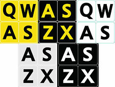 FIVE 5 ENGLISH US LARGE PRINT LETTERS BLACK YELLOW WHITE GRAY KEYBOARD STICKERS